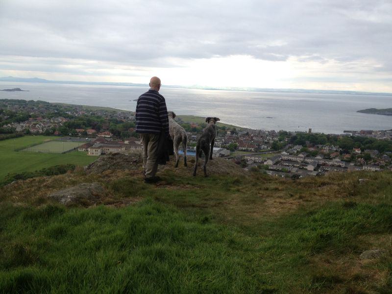 enjoying the view from Berwick Law